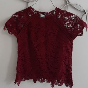 NWOT Anthropologie burgundy lace top